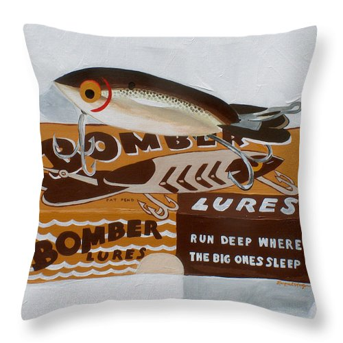 Fishing Throw Pillow featuring the painting Run Deep by Racquel Morgan