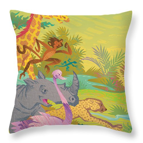Run For The Zoo Throw Pillow featuring the digital art Run For The Zoo by John Rose