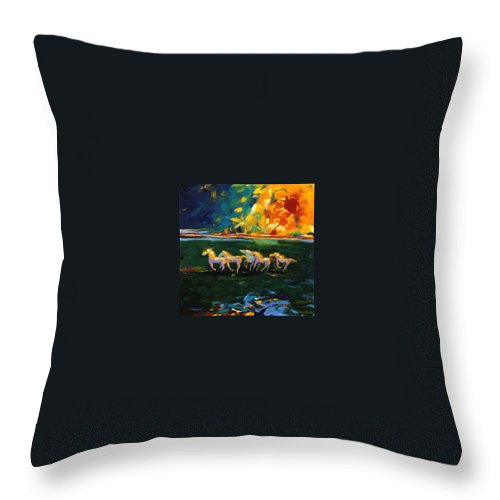 Abstract Horse Throw Pillow featuring the painting Run From The Sun by Lance Headlee