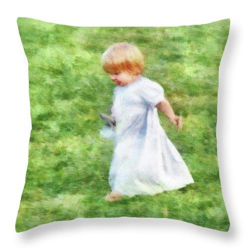 Girl Throw Pillow featuring the digital art Running Barefoot In The Grass by Francesa Miller
