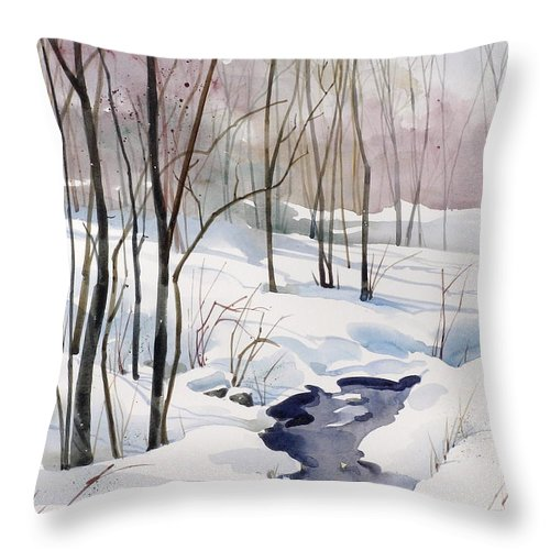 Winter Brook Scene Throw Pillow featuring the painting Running Cold by Art Scholz