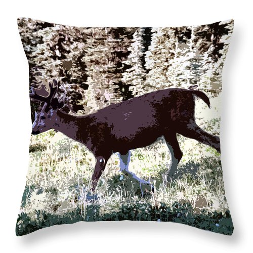Deer Throw Pillow featuring the painting Running Deer by David Lee Thompson