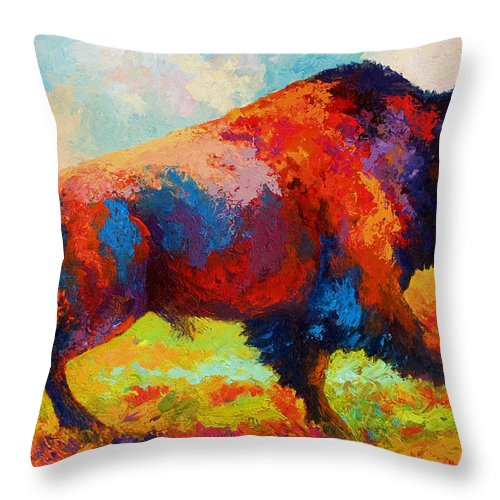 Bison Throw Pillow featuring the painting Running Free by Marion Rose