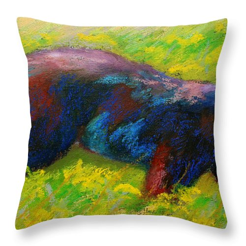 Western Throw Pillow featuring the painting Running Free - Black Bear Cub by Marion Rose