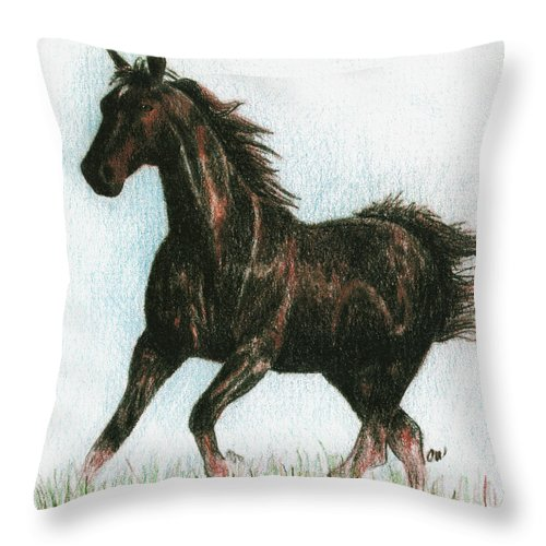 Horse Throw Pillow featuring the drawing Running Free by Arline Wagner