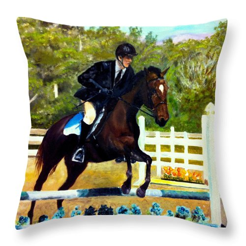 Horse Throw Pillow featuring the painting Running Free by Beverly Johnson