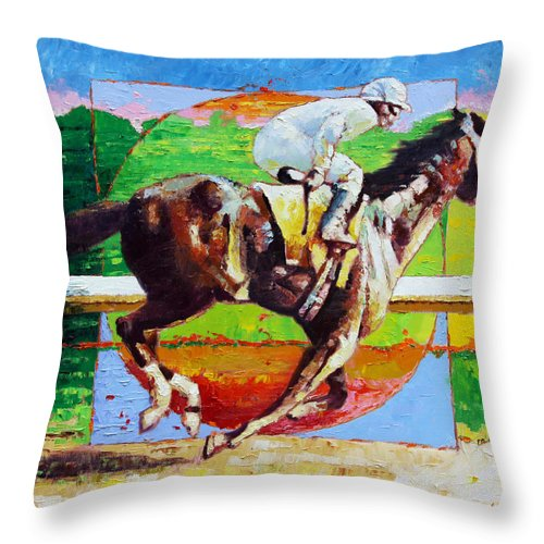 Horse Throw Pillow featuring the painting Running from the Darkness by John Lautermilch