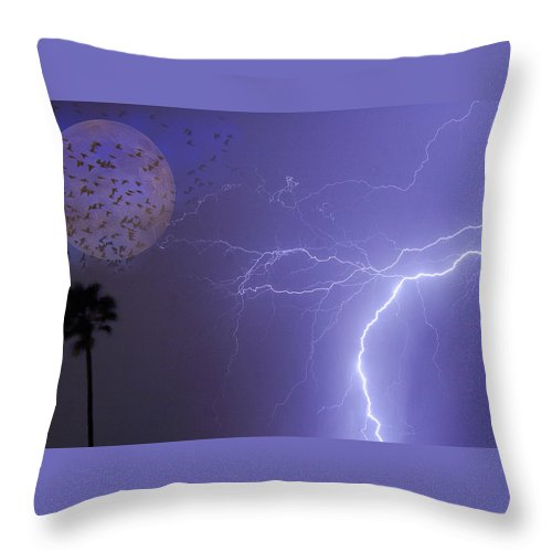 Lightning Throw Pillow featuring the photograph Running From The Storm by James BO Insogna