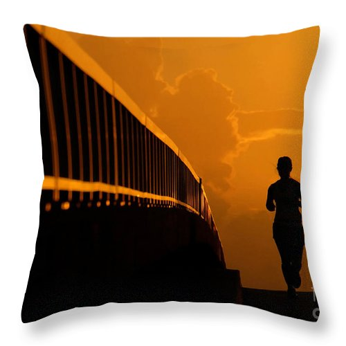 Running Throw Pillow featuring the photograph Running Girl by David Lee Thompson