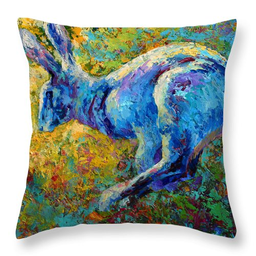 Rabbit Throw Pillow featuring the painting Running Hare by Marion Rose