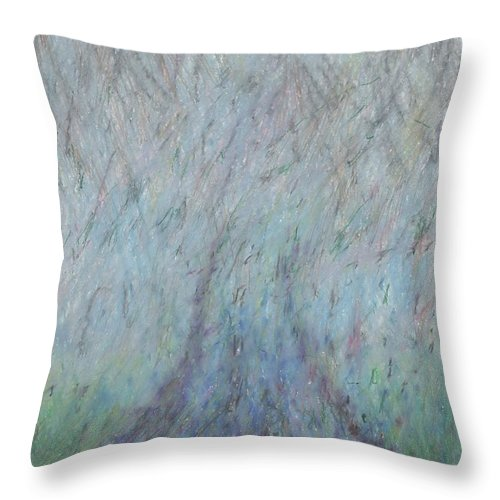 Fog Throw Pillow featuring the drawing Running Into Fog by Andy Mercer