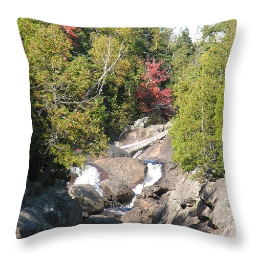 Waterfall Throw Pillow featuring the photograph Running Through The Woods by Kelly Mezzapelle