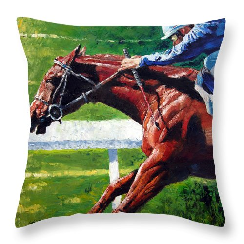 Horse Race Throw Pillow featuring the painting Running Towards The Light by John Lautermilch