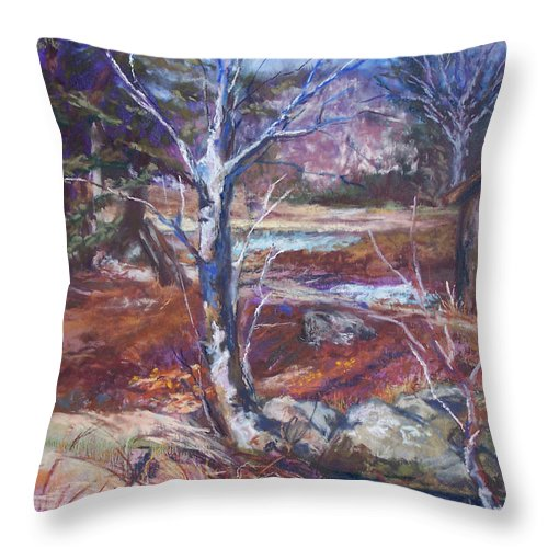 En Plein Air Throw Pillow featuring the pastel Running Upstream by Alicia Drakiotes