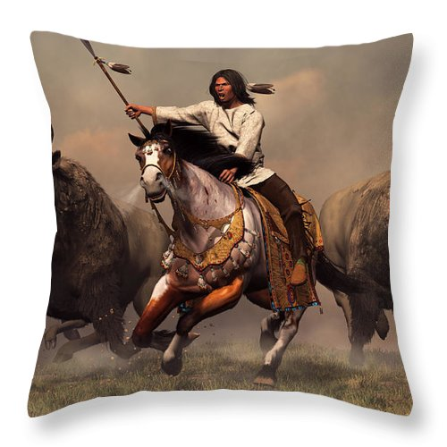 Western Throw Pillow featuring the digital art Running With Buffalo by Daniel Eskridge