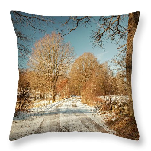 Warm Throw Pillow featuring the photograph Rural Country Road by Sophie McAulay