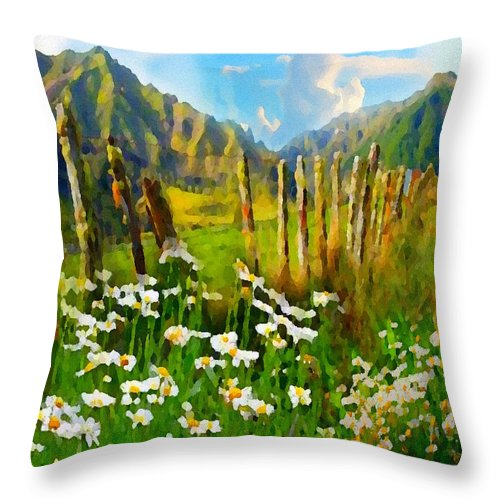 Mountains Throw Pillow featuring the digital art Rural New Zealand by Clive Littin