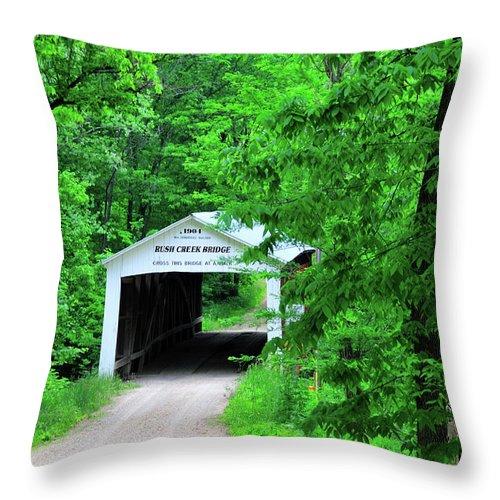 Bridge Throw Pillow featuring the photograph Rush Creek by David Arment