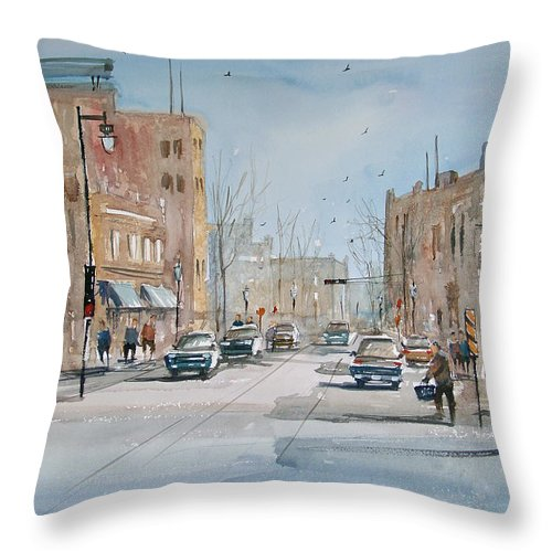 Street Scene Throw Pillow featuring the painting Rush Hour - Fond Du Lac by Ryan Radke