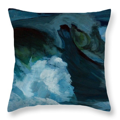 Waves Throw Pillow featuring the painting Rush by Racquel Morgan