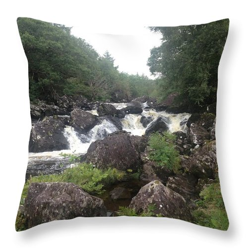 Throw Pillow featuring the mixed media Rushing River by Christina McNee-Geiger