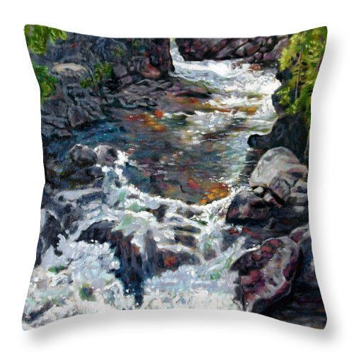 A Fast Moving Stream In Colorado Rocky Mountains Throw Pillow featuring the painting Rushing Waters by John Lautermilch