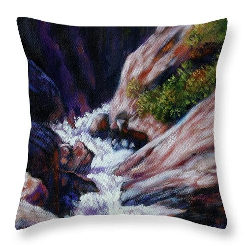 Mountain Stream Throw Pillow featuring the painting Rushing Waters two by John Lautermilch
