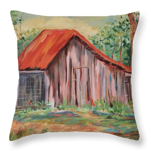 Chicken Coops Throw Pillow featuring the painting Russel Crow by Ginger Concepcion