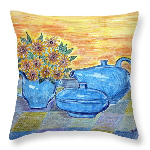 Russell Wright China Throw Pillow featuring the painting Russel Wright China by Kathy Marrs Chandler