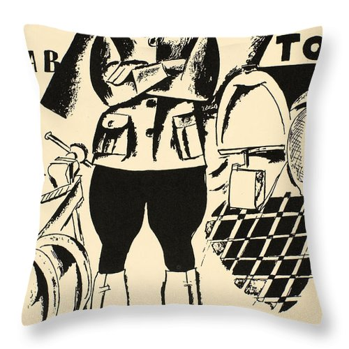 1917 Throw Pillow featuring the photograph Russia: Mechanic, 1918 by Granger