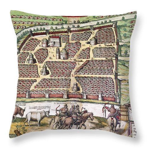 1591 Throw Pillow featuring the photograph Russia: Moscow, 1591 by Granger