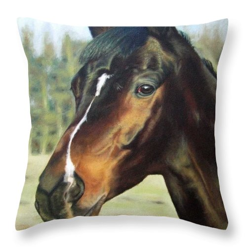 Horse Throw Pillow featuring the painting Russian Horse by Nicole Zeug