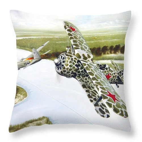 Aviation Throw Pillow featuring the painting Russian Roulette by Marc Stewart
