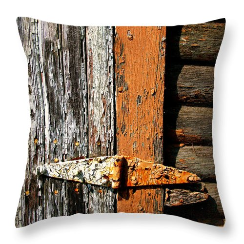 Rust Throw Pillow featuring the photograph Rustic Barn Hinge by Perry Webster