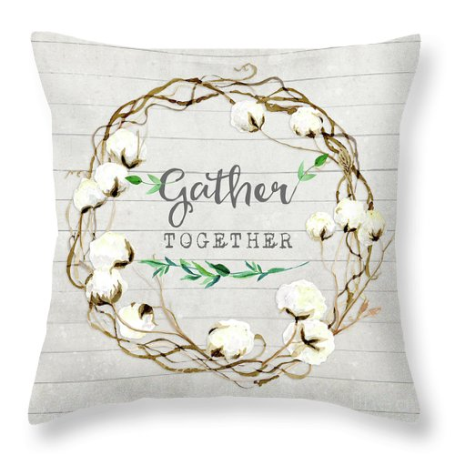 Rustic Farmhouse Cotton Boll Wreath 1 Throw Pillow For Sale By Audrey Jeanne Roberts