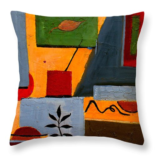 Abstract Throw Pillow featuring the painting Rustic Garden by Ruth Palmer