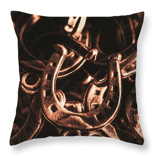Horse Throw Pillow featuring the photograph Rustic Horse Shoes by Jorgo Photography - Wall Art Gallery