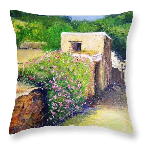 Bucolic Throw Pillow featuring the painting Rustic Landscape by Lizzy Forrester