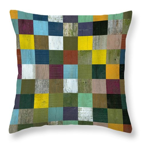 Textured Throw Pillow featuring the digital art Rustic Wooden Abstract by Michelle Calkins