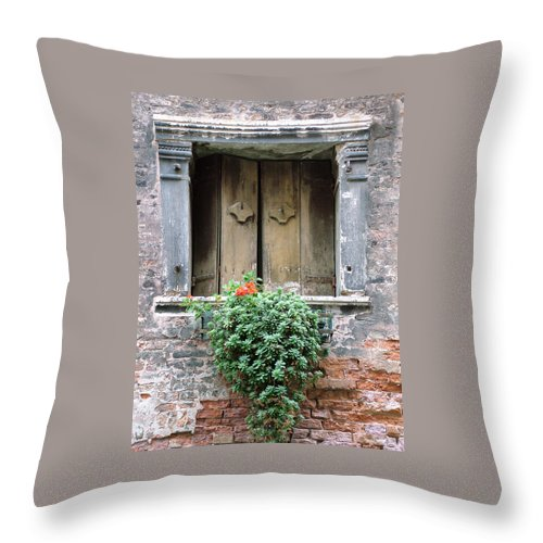 Venice Throw Pillow featuring the photograph Rustic Wooden Window Shutters by Donna Corless