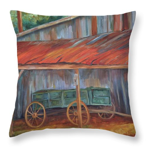 Old Wagons Throw Pillow featuring the painting Rustification by Ginger Concepcion