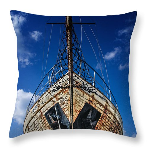 Abandoned Throw Pillow featuring the photograph Rusting Boat by Stelios Kleanthous