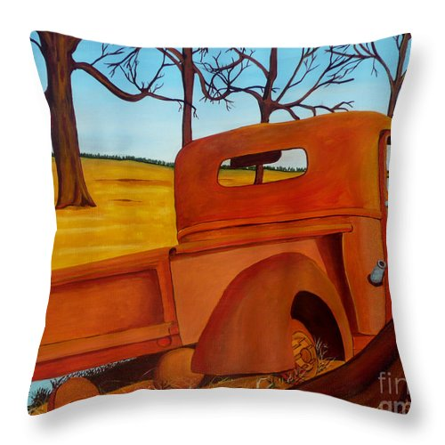 Truck Throw Pillow featuring the painting Rusting In Peace by Anthony Dunphy