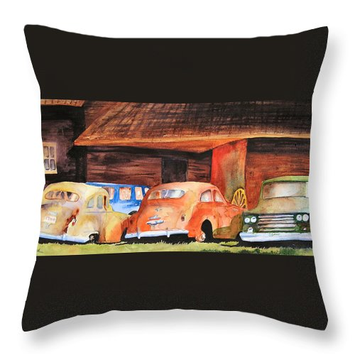 Car Throw Pillow featuring the painting Rusting by Karen Stark