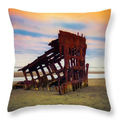 Rusty Throw Pillow featuring the photograph Rusting Shipwreck by Garry Gay