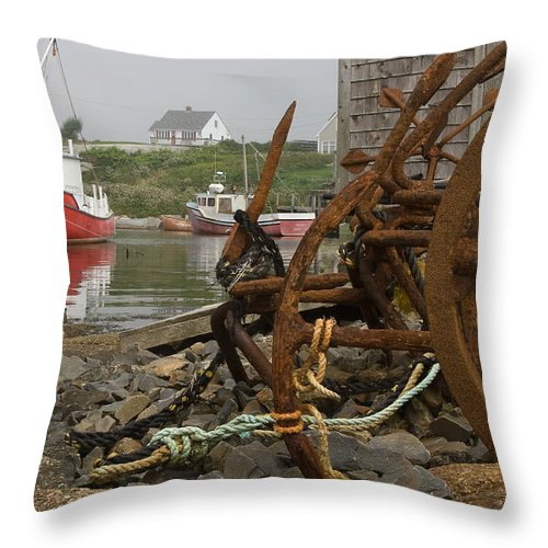 Scenic Throw Pillow featuring the photograph Rusty Anchors-2 by Steve Somerville