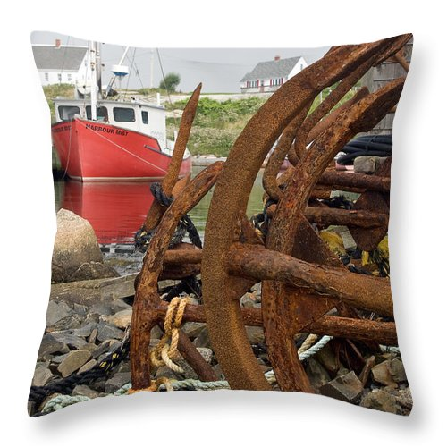 Anchors Throw Pillow featuring the photograph Rusty Anchors by Steve Somerville