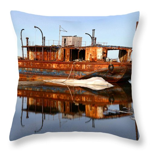 Boat Throw Pillow featuring the photograph Rusty Barge by Anthony Jones