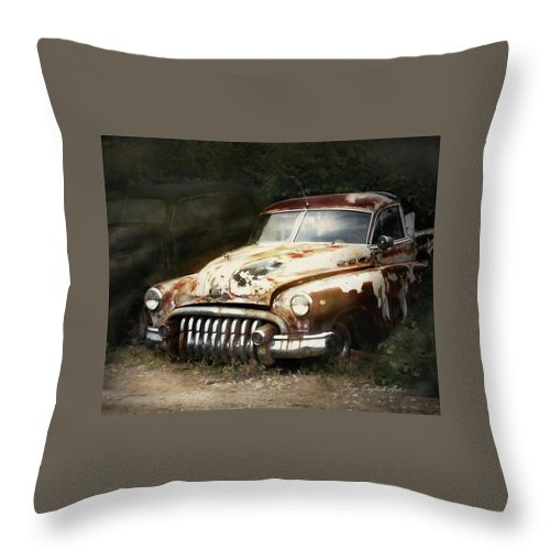 Old Car Throw Pillow featuring the digital art Rusty Ghost by Faye English