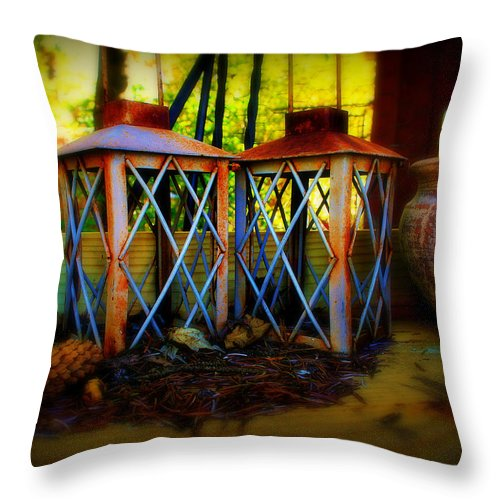 Rust Throw Pillow featuring the photograph Rusty Lanterns  by Perry Webster